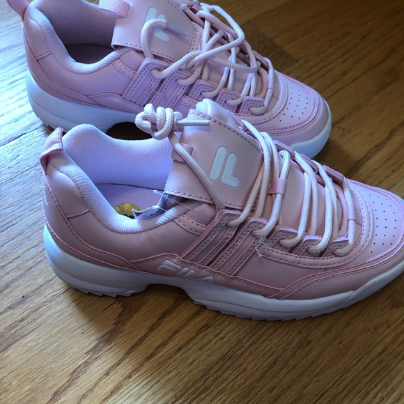 FILA chunky pink and white sneaker